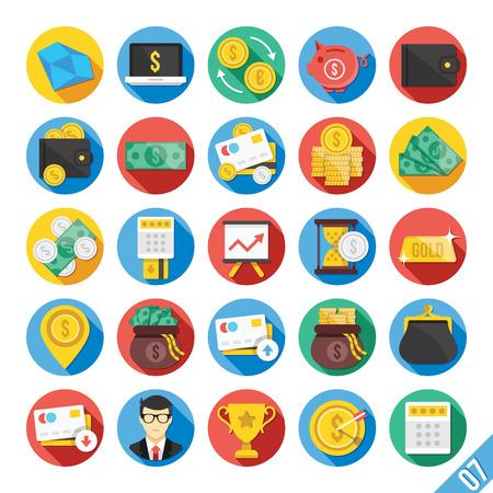 bolsa de valores: Moderno Vector Icons Set Piso 7