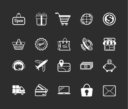 e commerce: Stock vector e commerce white pictograph icons set Illustration