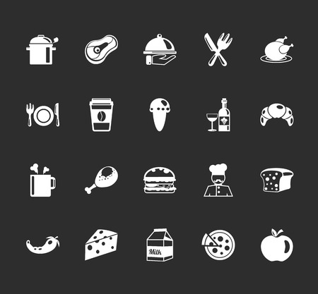 Vector food and elements restaurant icons set Vector
