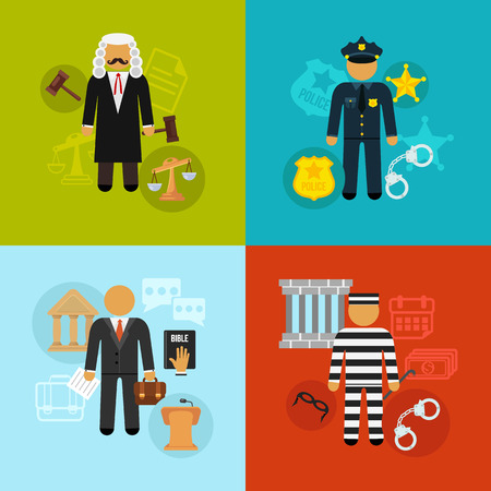 law and order: Vector crime and punishment law and order social flat icons set