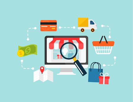 e commerce: Stock vector e-commerce online winkelen illustratie Stock Illustratie