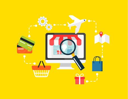 e commerce icon: Stock vector e commerce online shopping icon set