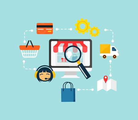 e commerce: Stock vector e-commerce online winkelen pictogram set Stock Illustratie