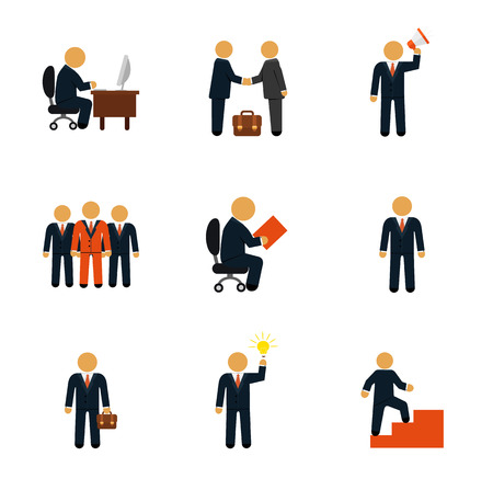 command structure: Stock vector business people flat icon set
