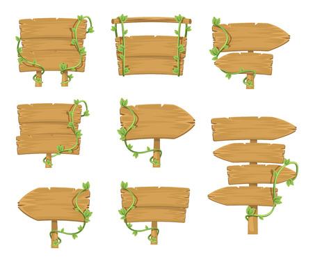 Image vectorielle panneaux de signalisation en bois simple SET Banque d'images - 32689220