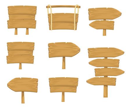 drewno: Wektor Zdjęcie drewniany znak deski prosty zestaw Ilustracja