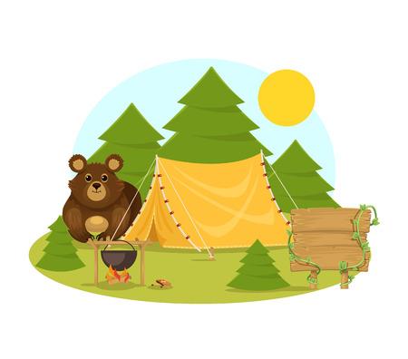 Stock vector flat camping in forest cartoon illustration Vector