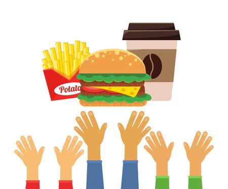 junk food fast food: Stock vector flat fast food design icon set