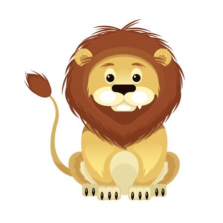 sneer: Vector Flat Cartoon Lion Illustration