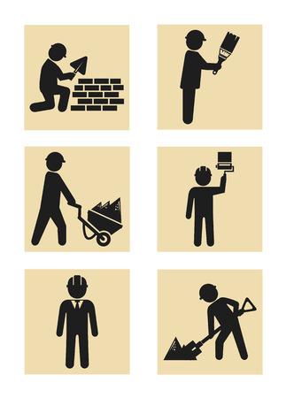 Construction man icon pictogram silhouette set Vector