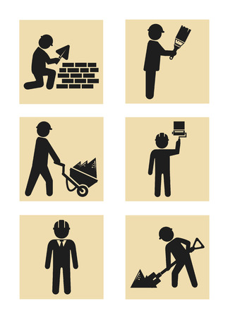 Construction man icon pictogram silhouette set Vector