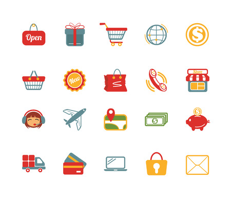 e money: Stock vector e commerce color pictograph icons set Illustration