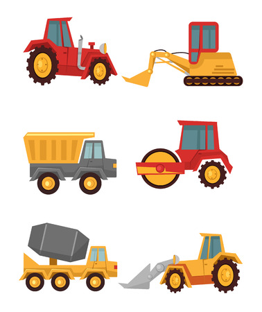 digger: Stock vector construction car flat simple icon set