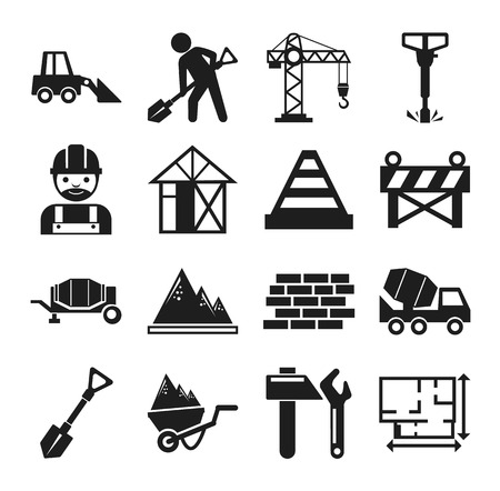 skid steer: Stock vector construction pictogram simple black icon set