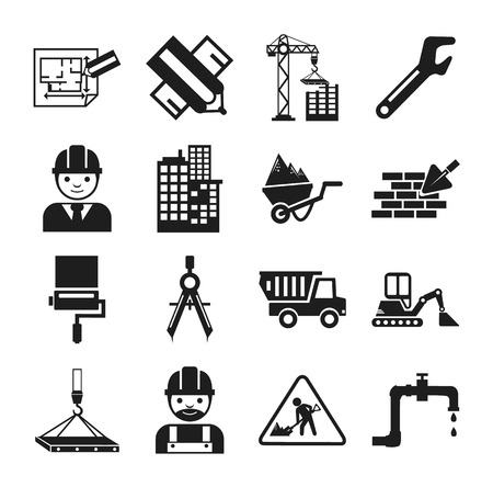jenny: Stock vector construction pictogram simple black icon set