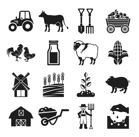 Stock vector pictogram farm black icon set Vettoriali