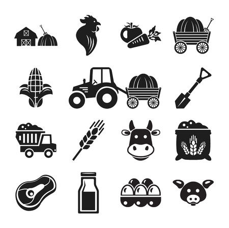 millet: Stock vector pictogram farm black icon set Illustration