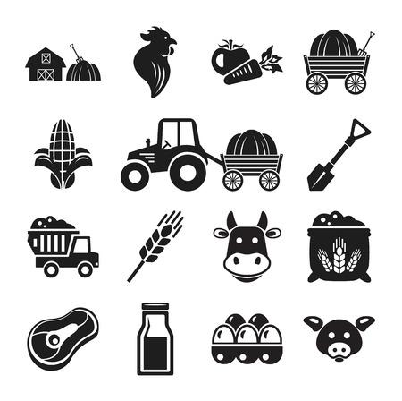 bála: Stock vektoros piktogram farm fekete, ikon, állhatatos