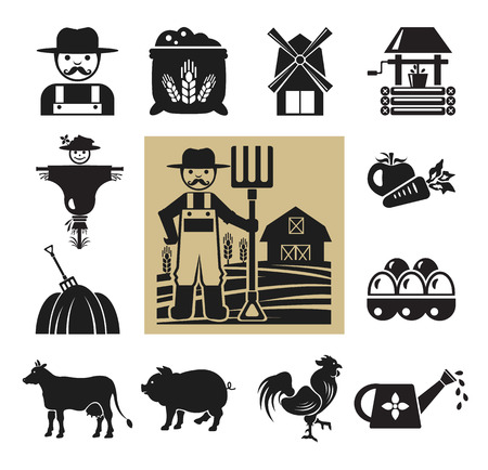 Stock vector pictogram farm black icon set Vector
