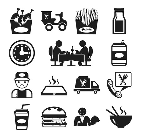 Delivery: Stock vector food pictogram black icon set Illustration