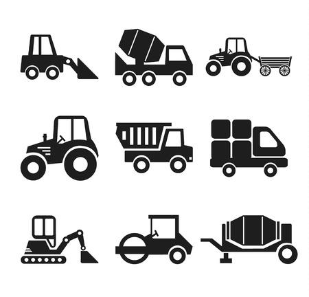road scraper: Stock vector construction machine pictogram icon set