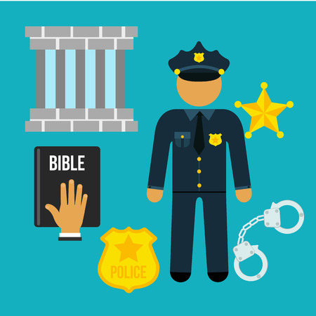 lawfulness: Vector crime and police man social flat icons set