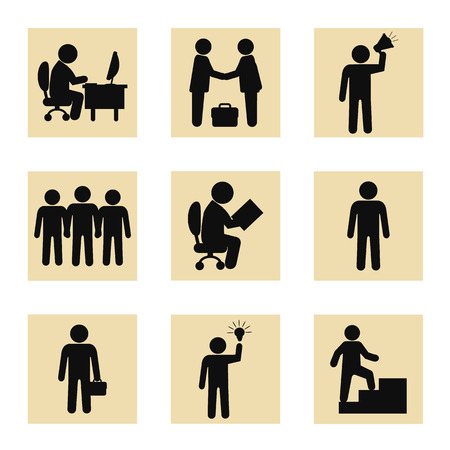 simbols: Stock vector business people black pictogram icon set