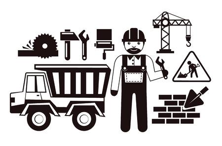 Stock vector illustration construction black pictogram icon set Vector