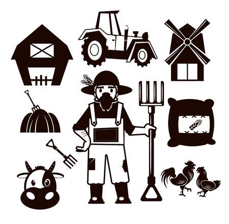 Stock vector farm pictogram illustration black icon set Vector