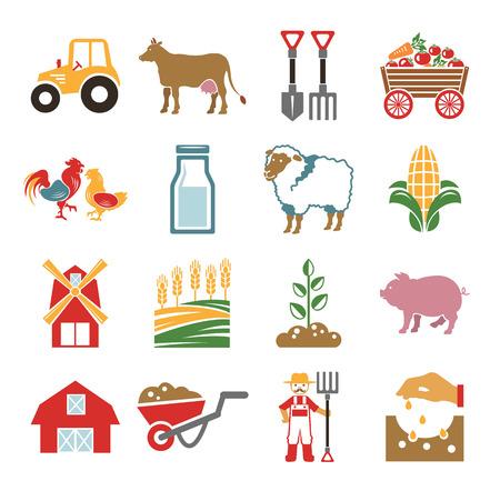 aves de corral: Stock vector icono de color granja pictograma configurado Vectores