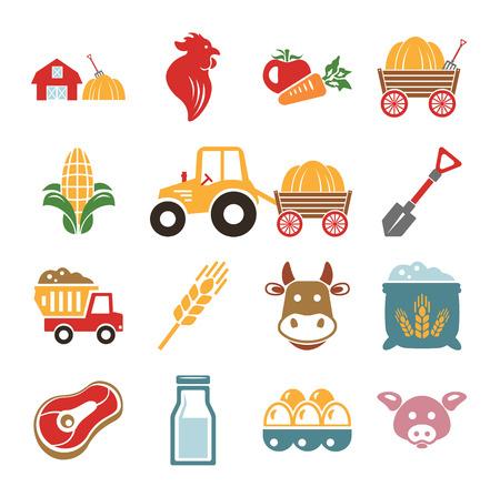 Stock vector color pictogram farm icon set Vector