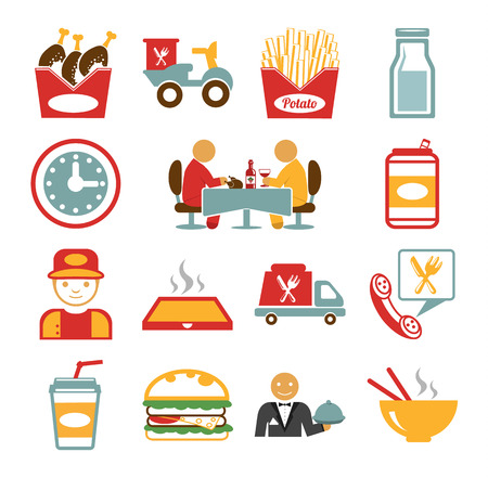 takeout: Stock vector food color pictogram icon set