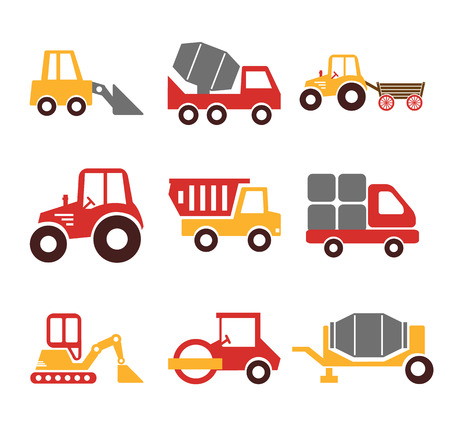 off road vehicle: Stock vector construction machine color pictogram icon set Illustration