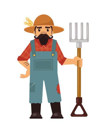 coverall: Farmer flat illustration Illustration