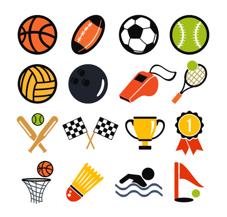 Vector color flat vector set of sports inventory icons Vector