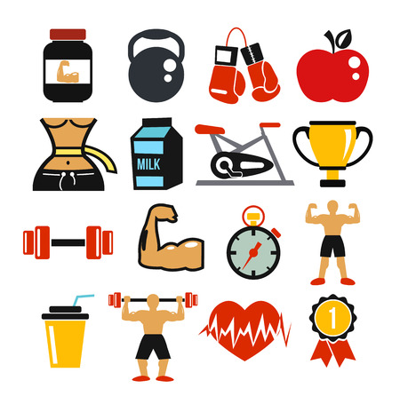 gainer: Vector sport and fitness icons set