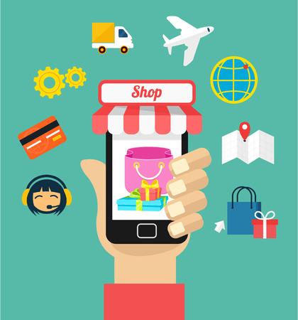 e commerce: Vector leeg e-commerce illustratie icon set