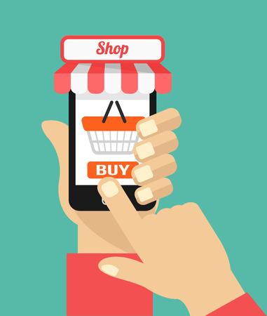 e commerce: Vector platte e-commerce illustratie pictogram ontwerp