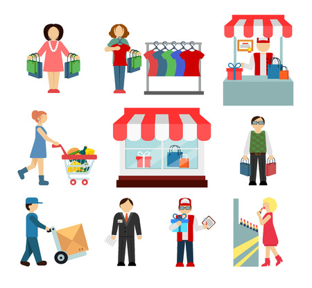 Vector shopping and shipping flat icons set Vector
