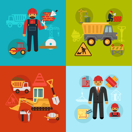 construction management: Vector construction engineering and management concept