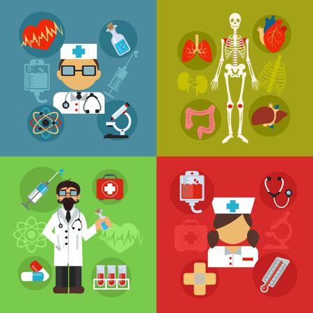 Modern flat vector medical illustrations concept Vector
