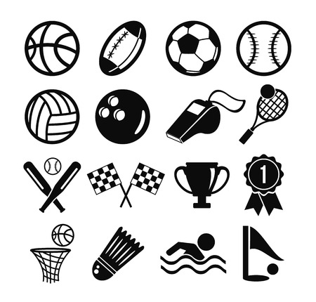 Vector black flat vector set of sports inventory icons Vector