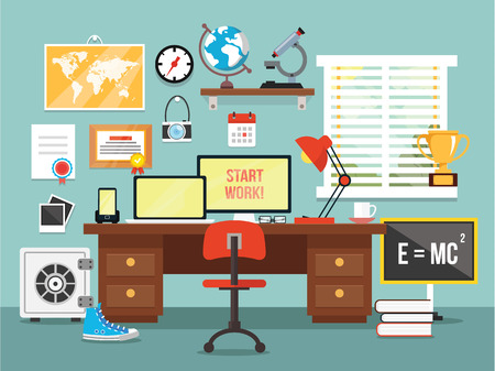 Workplace in room. Vector flat illustration Vector