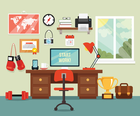 interior design: Workplace in room. Vector flat illustration