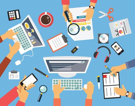 boardroom meeting: Business people. Workplace flat illustration icon set Illustration