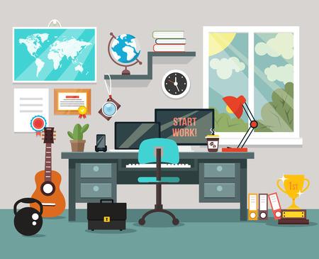 Workplace im Zimmer. Vector flache Darstellung