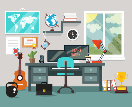 room service: Workplace in room. Vector flat illustration
