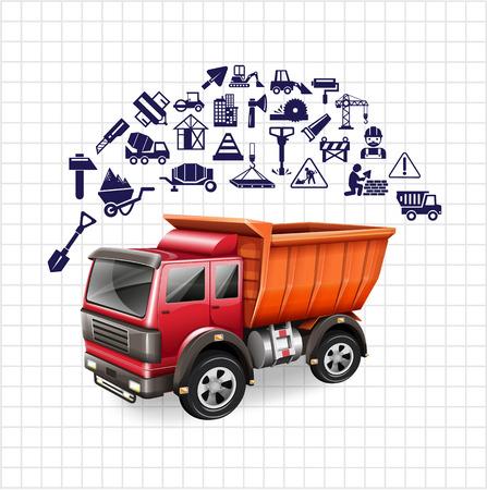 camion grua: Icono de conjunto de la construcción