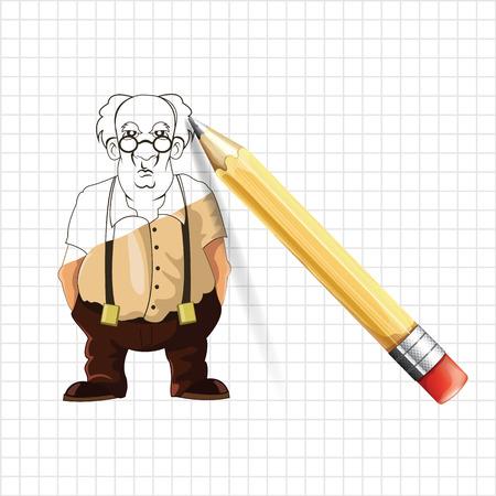 spectacled: Old man vector sketch illustration