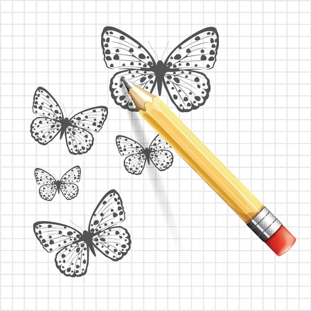 butterfly hand: Butterfly sketch. Vector illustration
